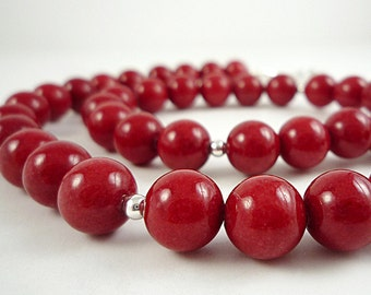 Red Necklace Beaded Bright Red Bead Necklace Cherry Red Necklace Red Glass Necklace Silver Red Beaded Necklace Short Red Strand
