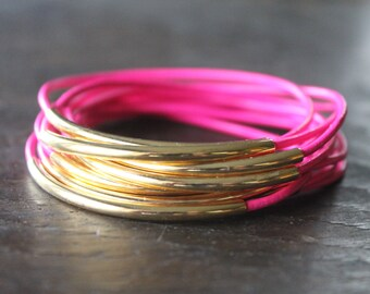 West End Neon Pink Leather Bracelet Bangles with Long Gold Tube Bead Accents  - Wild 1980's Party Love