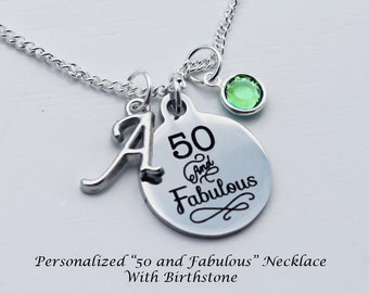 50th birthday. 50th birthday gift for women, Fiftieth Birthday. 50 and Fabulous. Birthstone Necklace.50 Years old.
