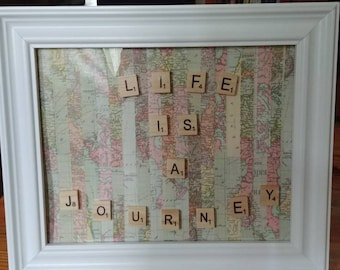 Scrabble Life Is A Journey picture frame