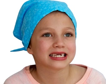 Mia Children's Head Cover, Girl's Cancer Headwear, Chemo Scarf, Alopecia Hat, Head Wrap, Cancer Gift for Hair Loss - Blue Hearts