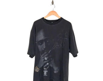 90s 2Pac Weed Smoke Crucifix Cross T-Shirt. Mildly Thrashed Faded Bedazzled Tupac Shakur Hip Hop Tee.