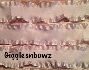 1.5 inch DOUBLE RUFFLE Satin Ribbon- ICY PiNK 5 YaRDS Great for Hair bows Scrapbooking Crafts