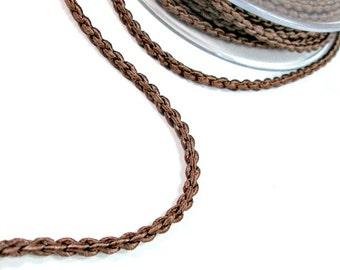 """Satin """"chain"""" braided silk cord, brown, 1m"""