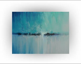 "Abstract Teal, Blue  Original Painting,Palette Knife Minimalist Wall Decor Home Decor Office ""Quietude"" - 40 x 30 -  by Skye Taylor"