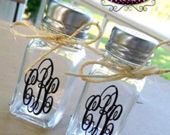Custom Salt and Pepper Shakers--Vinyl Salt and Pepper Shakers--Monogrammed Salt and Pepper Shakers--Wedding Gift--Salt and Pepper Shakers