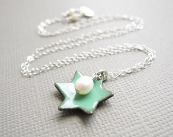 Mint Green Jewish Star of David Necklace Enamel White Pearl Sterling Silver