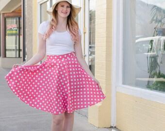 Pink and White Polka Dot Circle Swing Skirt