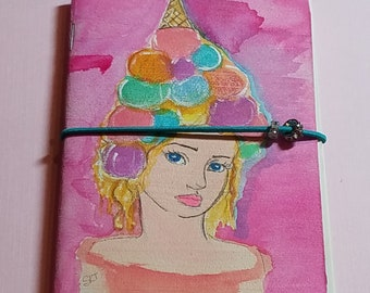 "Original Watercolor Art on Altered Moleskine Notebook Journal 3.5"" x 5.5"", elastic closure and Swarovski crystals - Ice Cream Cone Hat Girl"