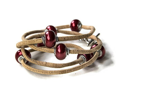 Wrap vegan bracelet bacelet from cork cord with red beads