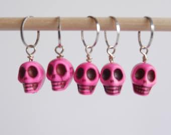 Skull stitch markers set of 5 pink