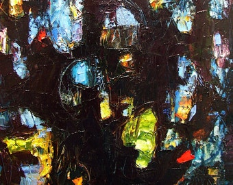 Abstract painting, dramatic expressionist townscape,  textural impasto oil, dark with glowing colours 18 x 14 inches