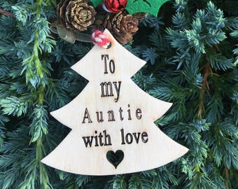 Auntie Gift Tag, Wooden Gift Tag, Christmas 2017, Rustic Christmas Tag, Traditional Christmas Tag, Christmas Wrapping, Festive Gift Tag