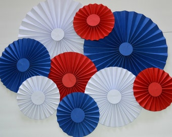 Red, White, and Blue Rosettes, Paper Fans, Pinwheels, Party Decoration, Cake Backdrop, Photo Backdrop