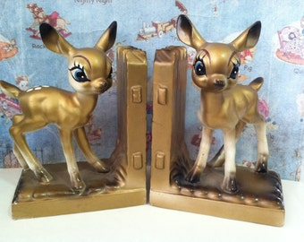 VERY RARE Vintage Antiques Golden Deer and Fence Collectible Bookends or Paperweights