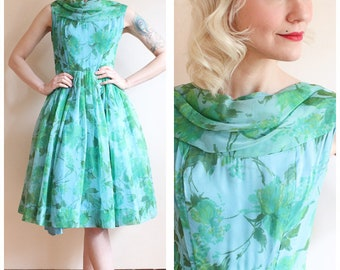 1960s Dress // Birdie Blue Rose Dress // vintage 60s dress