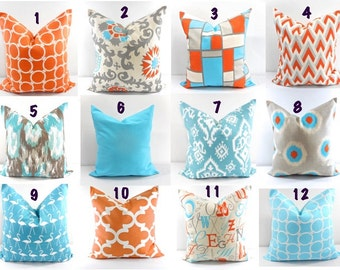 Orange  Blue  Pillow.  Apache orange and Blue pillows. mix and matchSham Pillow case. Select Pattern and sizes.