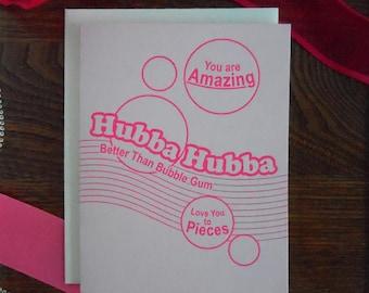 letterpress hubba hubba greeting card love pink hot pink bubble gum vintage retro amazing