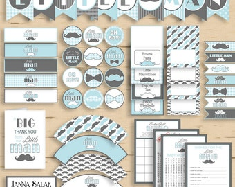 Little Man Baby Shower PRINTABLE Party Package Blue and Grey Diy INSTANT DOWNLOAD Pdf LM001