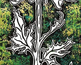 "Original Linocut overprint on mulberry paper, 5 1/4"" x 12"", Chryst I"