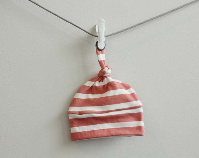 baby hat coral stripe Organic knot modern newborn shower gift photography prop hospital outfit accessory neutral girl boy