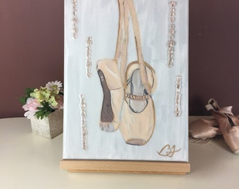 Hanging pointe shoes