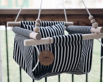 Outdoor swing, black stripes, baby swing, fabric swing, toddler swing, indoor swing, porch swing, nursery decor, wood swing, baby shower