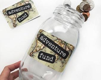 Adventure Fund Sticker, DIY Gift, Piggy Bank, Travel Fund Decal, Vacation Fund, Adventure Fund Sticker, Savings Jar, Savings Bank, Travel,