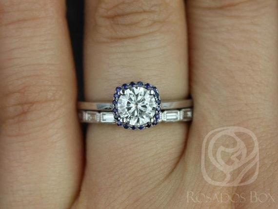 Rosados Box Bella 6mm & Rihani 14kt F1- Moissanite, Sapphire, Diamond Cushion Halo Wedding Set