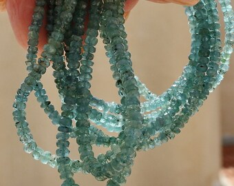 Natural Greenish Blue Gem Watermelon Tourmaline gradual size Faceted Rondelle Beads demi strand Choice of Size