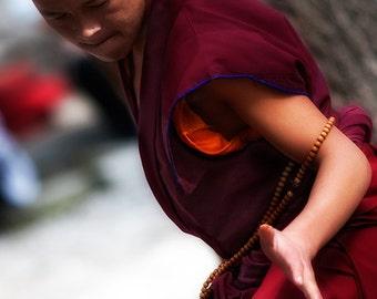 Buddhist debate, Tibetan monks, Lhasa monastery, Tibet, travel photography, portrait, fine art print, 8x10