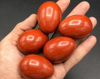 Red jasper eggs - natural jasper eggs - beautiful red color - natural stone eggs - healing stone eggs - size 55x35 weight 70-100 grams