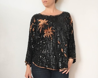 SALE // Vintage Sequin Top / 1980s Sequin Top / Sequin Shirt / 1980s Clothing / Sequin Top Women / Black Sequin Shirt