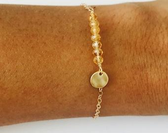 Citrine Bracelet November Birthstone Gold coin Bracelet Citrine Gold Bracelet Gemstone Bracelet Healing bracelet 7 Citrine Bracelet