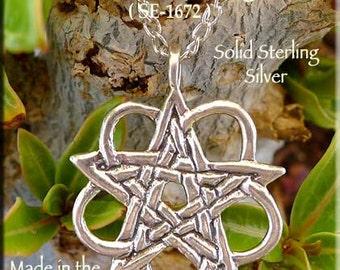 Celtic Pentagram Pendant, Sterling Silver Celtic Hidden Pentacle Necklace, Interlaced Celtic Star Pendant - Pagan Witchcraft Jewelry SE-1672