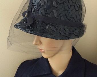 Vintage Navy Blue bucket hat/ raffia hat with veil/ Audrey Hepburn Hat/ 60s hat/ straw hat