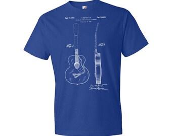 Gretsch Acoustic Guitar T-Shirt Patent Art Gift, Guitar Patent, Guitar Player Gift, Guitarist Gift, Guitar Teacher Gift, Musician Gift