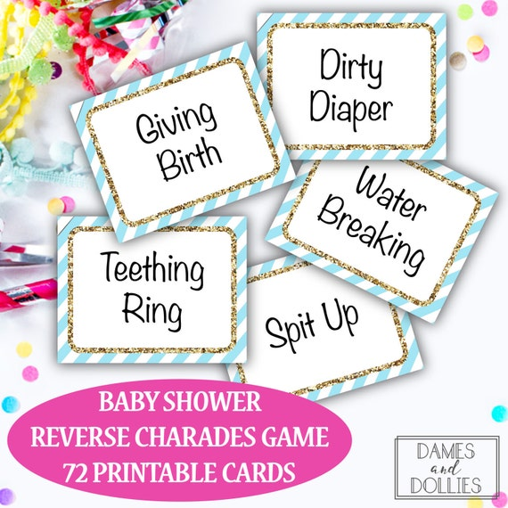 Baby Shower Game, Baby Shower Charades Cards, Printable Baby Shower Game,  Printable Party Game, Printable Charades Cards, Group Party Game