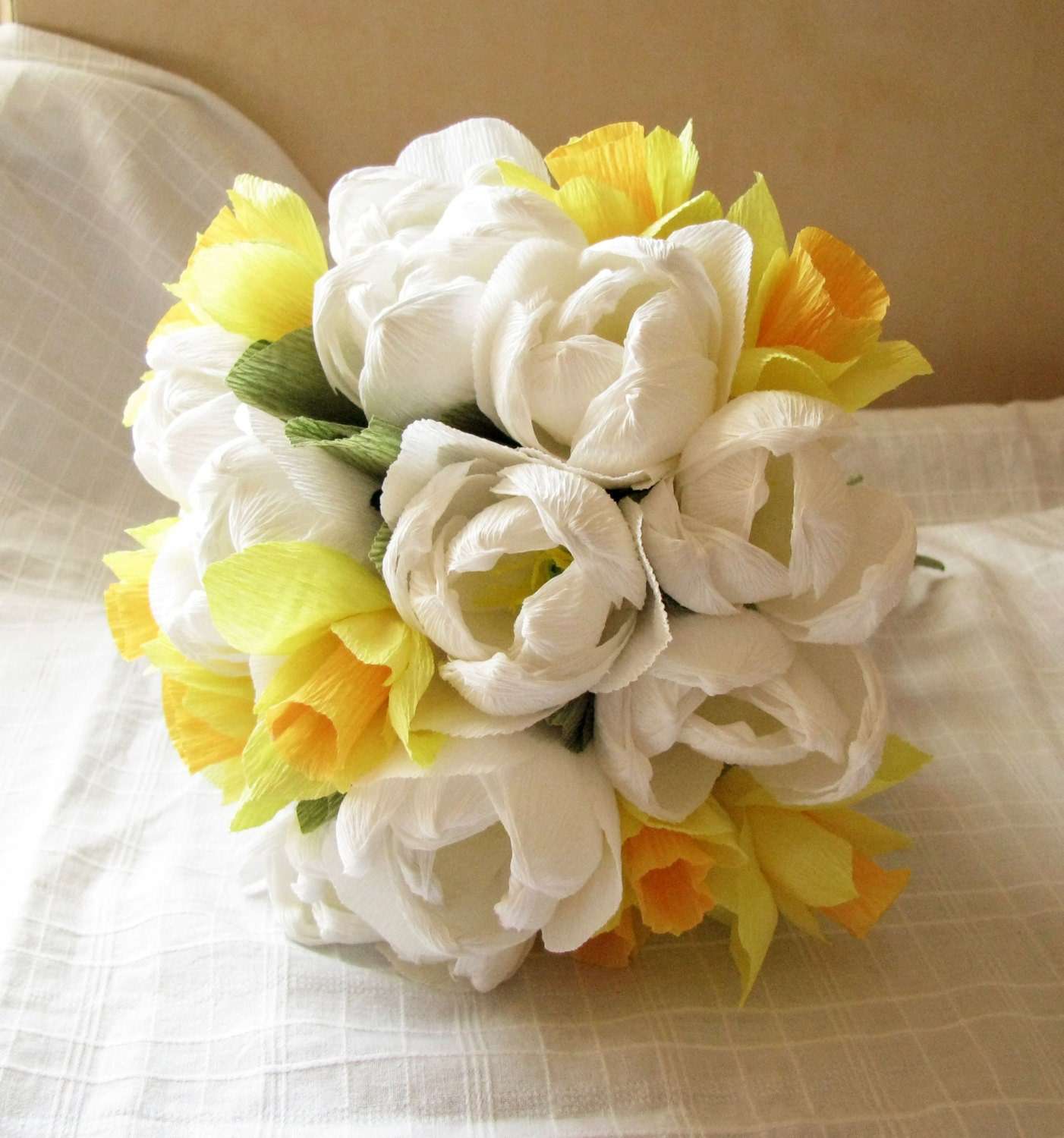 White Tulips Bouquet Daffodil Wedding Paper