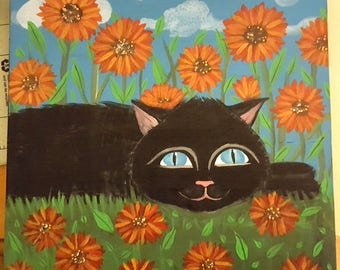 "Day Dreams and Cat Schemes,10 x 10 inch Black Kitty Cat ""Chillin"" Wood Wall art plaque,pet,Flowers,Original Artwork FREE SHIPPING"