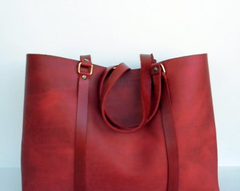Leather Tote Bag,  Leather Tote , Red Leather Tote, Red Leather Tote,RWOODB Red Bag, Red Leather Bag, Spring Leather Bag
