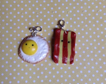 Kawaii Polymer Clay Bacon and Egg Bestfriend Charms