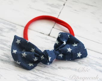 Baby Headband, 4th of July Headband, Canvas Knot Headband, Knot Headband, Baby Knot Headband, Baby Nylon Headband, Nylon Headband