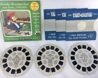 1955 SAWYER'S Vintage WOODY WOODPECKER View-Master Reels Set Andy Panda Chilly Viewmaster