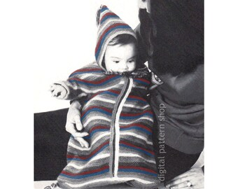 Baby Bunting Pattern, Hooded Bunting Knitting Pattern Boys & Girls Zipper Bunting Bag PDF Instant Download- K101