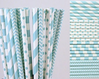 Light Blue Paper Straw Mix-Light Blue Straws-Polka Dot Straws-Chevron Straws-Gender Reveal-Striped Straws-Party Straws-Mason Jar Straws