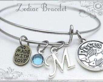 Zodiac Personalized Bracelet, Pisces Charm Bracelet, Astrological Sign Bracelet