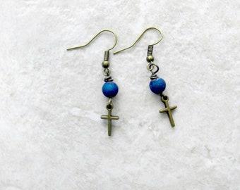 Midnight Blue Ohrringe, Kreuz Ohrringe, kleine Ohrringe, Damenmode, Geschenke für Mädchen, Geschenk für Taufe Geschenk, Teen Tochter, Schwester