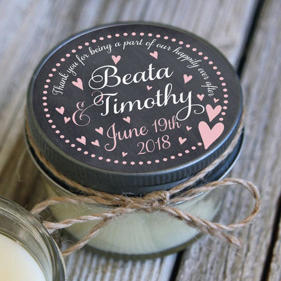 Set of 12 - 4 oz Candle Wedding Favor -Personalized Wedding Favors // Chalkboard Floating Hearts Wedding Favors