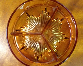 Vintage Amber Round Divided Candy Dish, Relish Tray, 3 Part